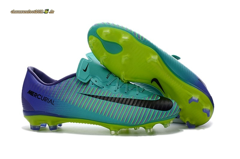 Vente Chaussure Nike Mercurical Victory VI TPU FG Pourpre Vert - Chaussures de Foot