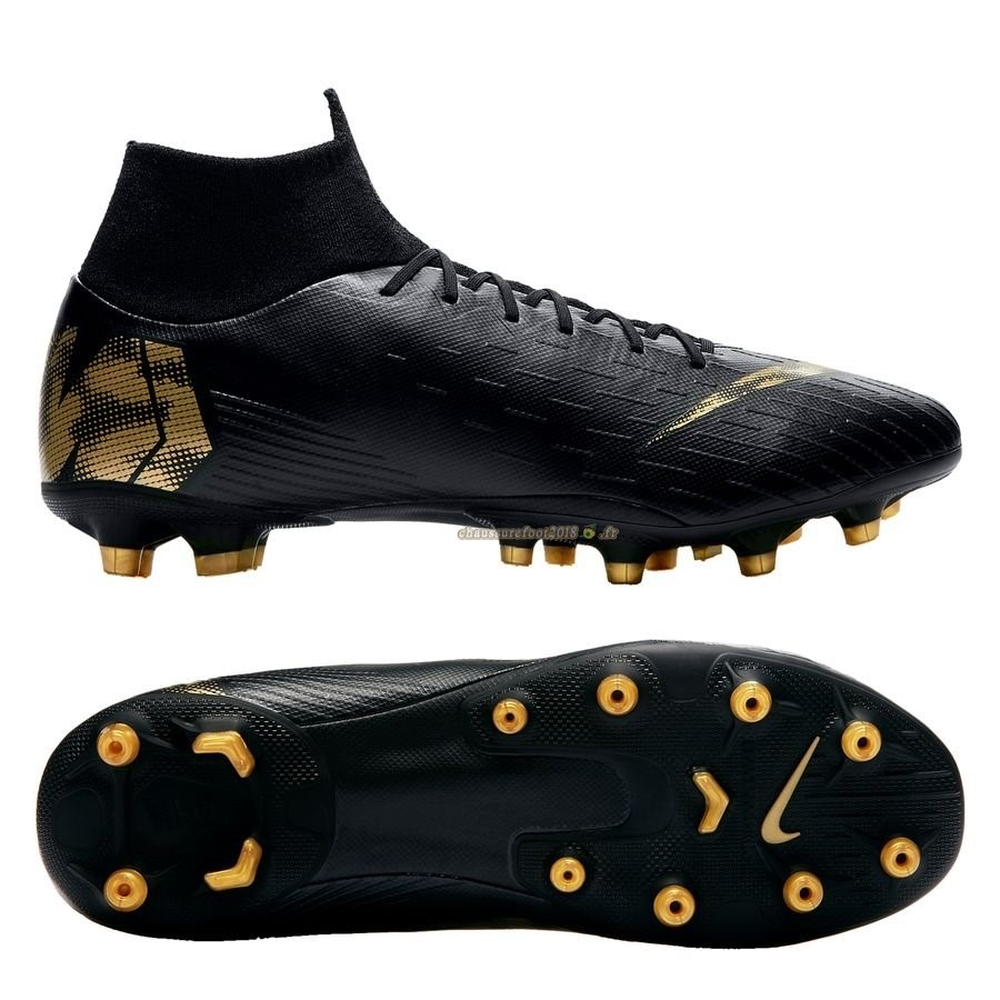 Chaussure Foot Promo - Chaussure Nike Mercurial Superfly 6 Pro AG PRO Black Lux Noir - Crampon de Foot