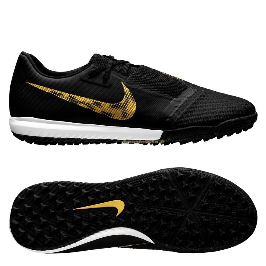 Chaussure Foot Promo - Chaussure Nike Phantom Venom Academy TF Black Lux Noir Or - Meilleur Chaussures de Foot