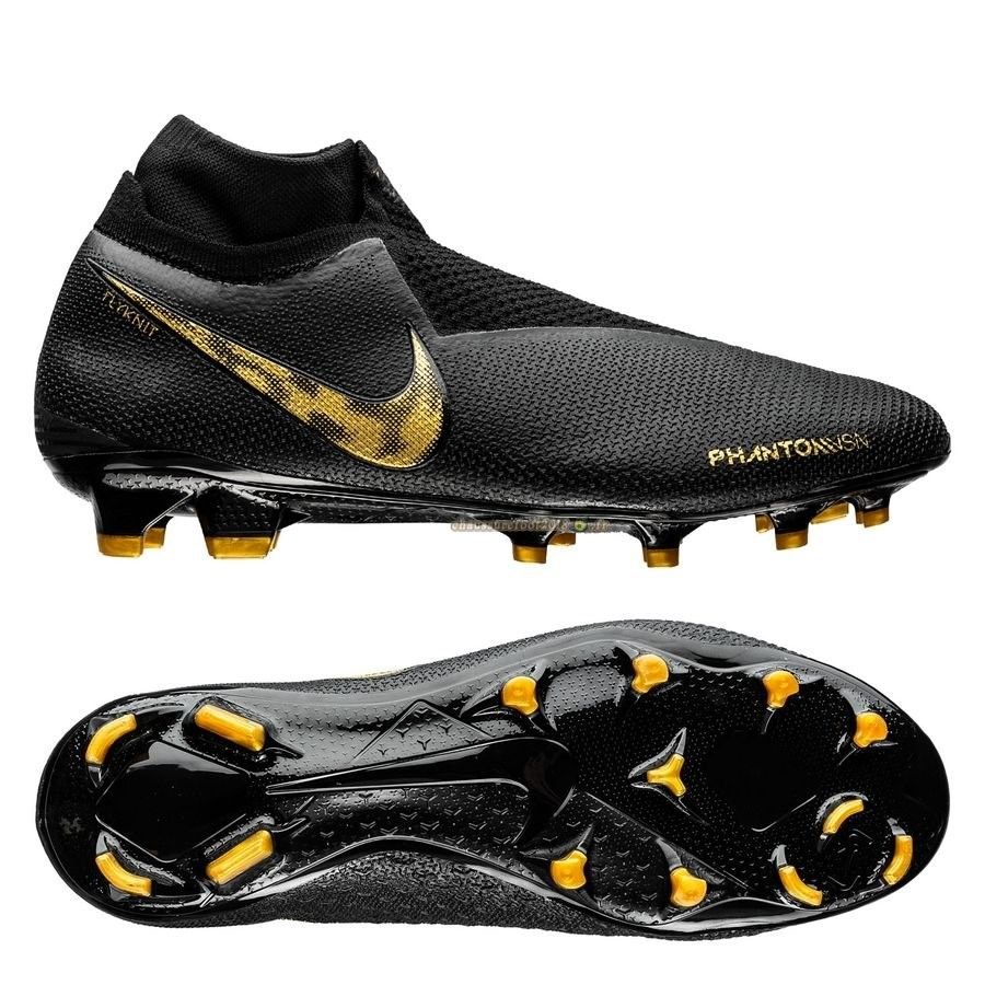 Site Crampons Foot - Chaussure Nike Phantom Vision Elite DF FG Black Lux Noir Or - Crampon de Foot