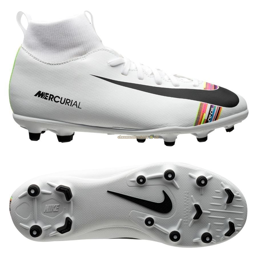 Vente Chaussure Nike Mercurial Superfly 6 Club Enfant MG LVL UP Blanc Chaussure de Foot Salle