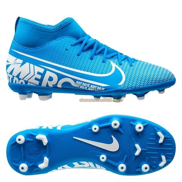Nouvelle Chaussure Nike Mercurial Superfly 7 Club MG Bleu Chaussure de Foot Salle