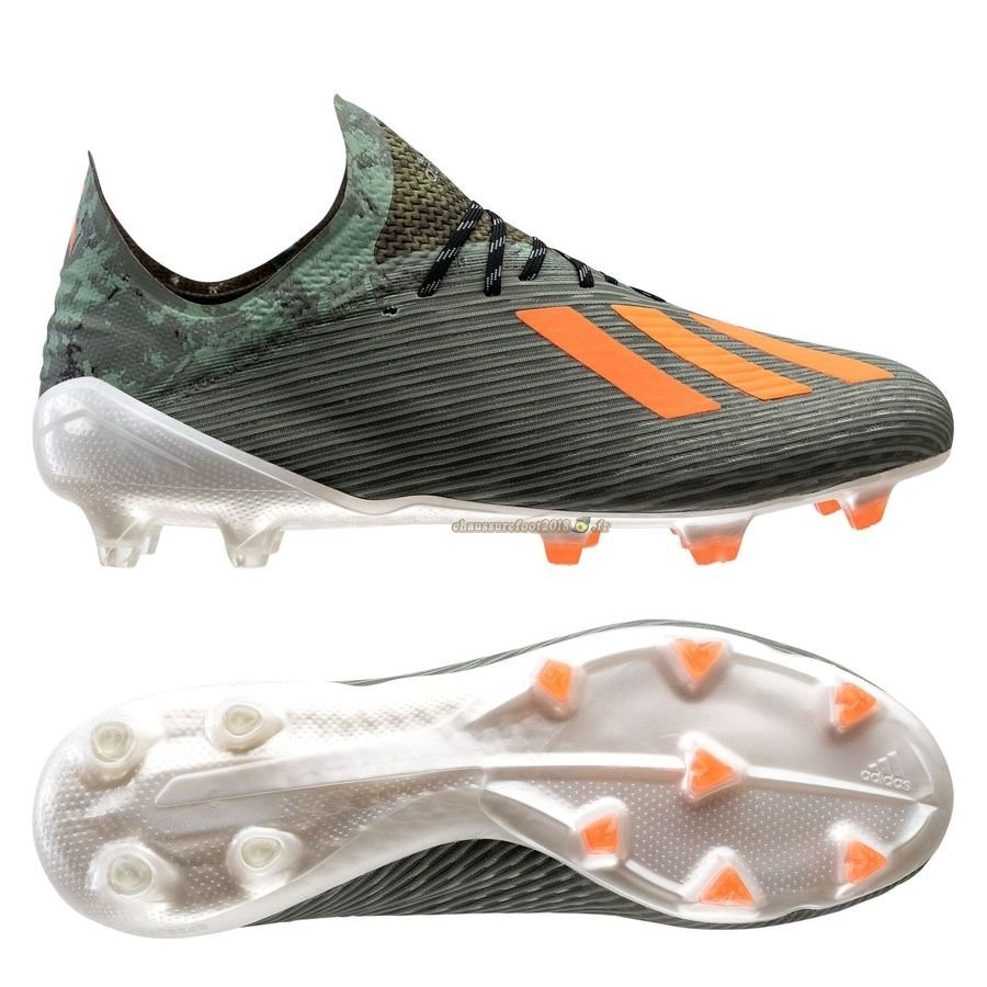 Chaussure Foot Promo - Chaussure Adidas X 19.1 FG/AG Encryption Vert - Meilleur Chaussures de Foot