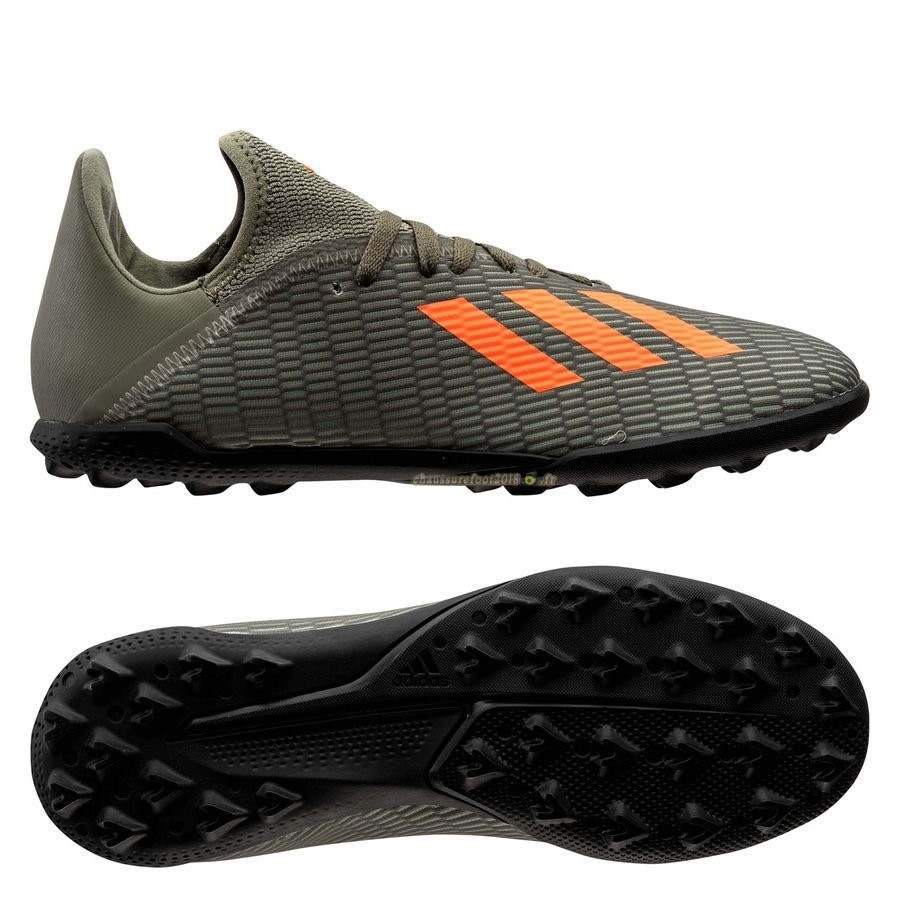 Remise Chaussure Adidas X 19.3 TF Encryption Vert Noir - Chaussures de Foot