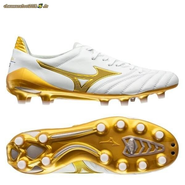 Offres Chaussure Mizuno Morelia Neo II FG Blanc Or Chaussure de Foot Salle