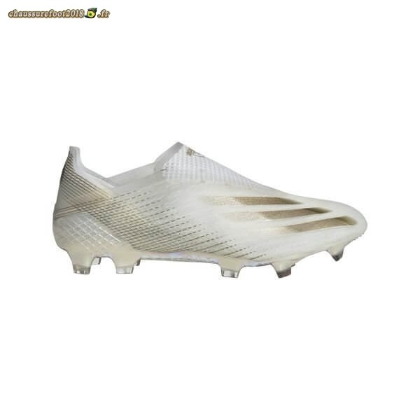 Hot Chaussure Adidas X Ghosted + FG/AG Inflight Blanc Noir Or - Crampon de Foot
