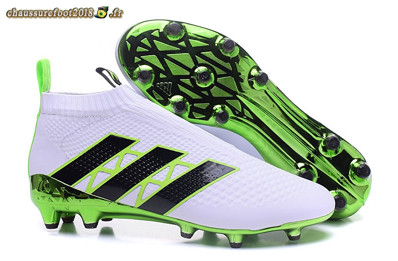 Chaussure Foot Promo - Chaussure Adidas Ace 16+ AG Blanc Vert - Crampon de Foot