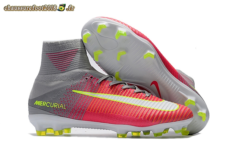 Chaussure Foot Promo - Chaussure Nike Mercurial Superfly V FG Gris Rouge Jaune Pas Cher