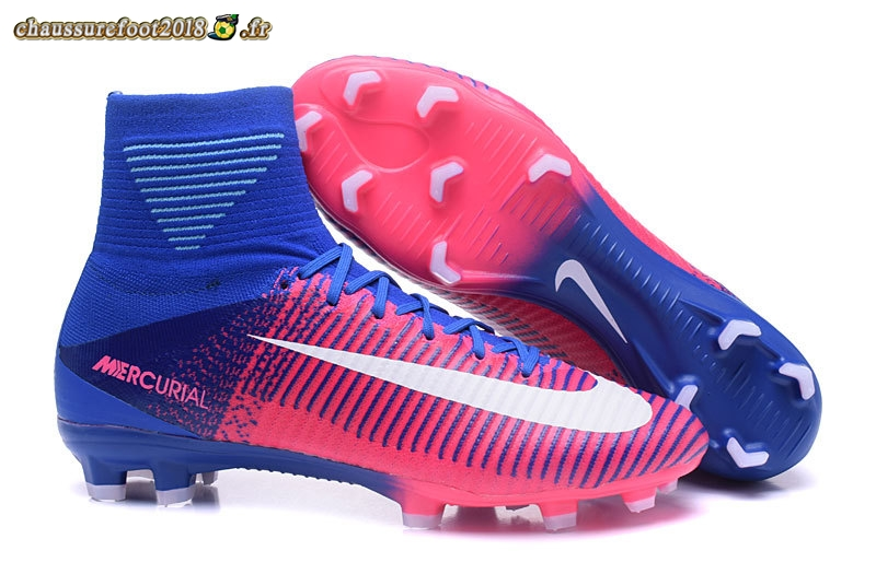 Chaussure Foot Promo - Chaussure Nike Mercurial Superfly V FG Rose Bleu Chaussure de Foot Salle