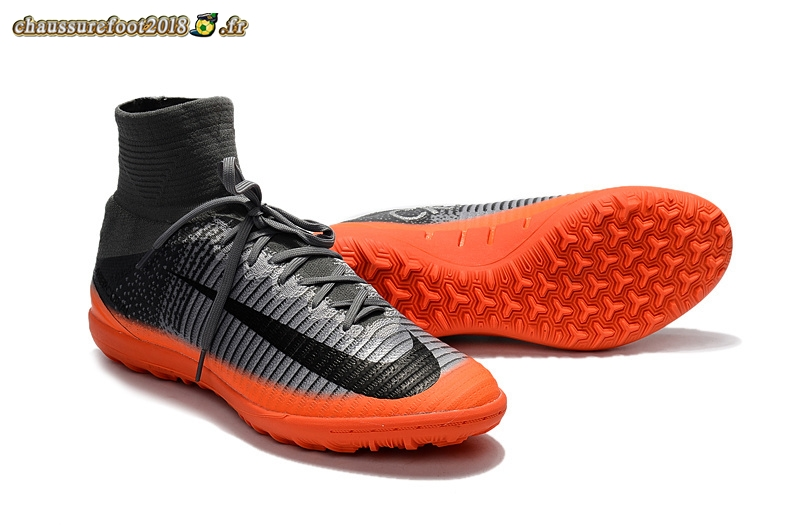 Chaussure Foot Promo - Chaussure Nike Mercurial Superfly V TF Noir Orange - Chaussures de Foot