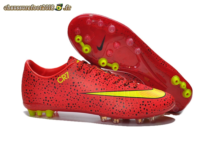 Chaussure Foot Promo - Chaussure Nike Mercurial Vapor CR7 AG Rouge Jaune - Chaussures de Foot