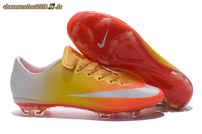 Chaussure Foot Promo - Chaussure Nike Mercurial X Vapor FG Blanc Jaune Rouge Chaussure de Foot Salle
