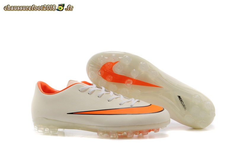 Destockage - Chaussure Nike Mercurial X Vapor AG Blanc Orange - Crampon de Foot