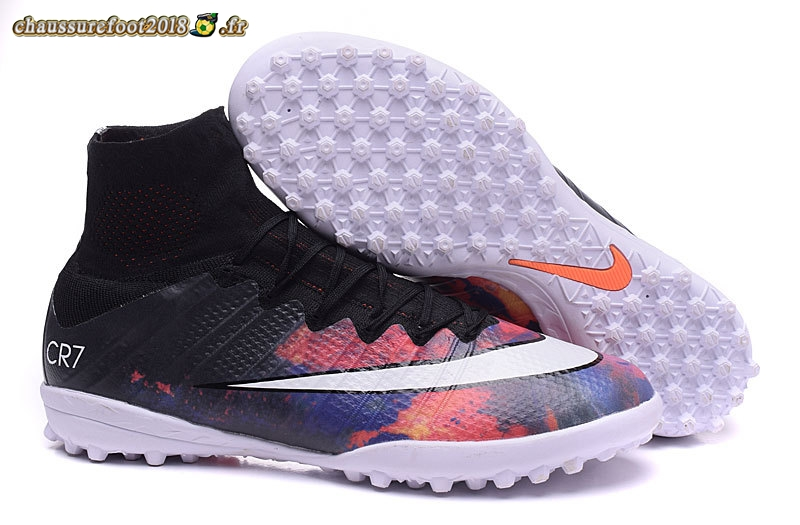 Nouvelle Chaussure Nike Mercurial Superfly CR7 TF Noir Cramoisi Blanc En Solde