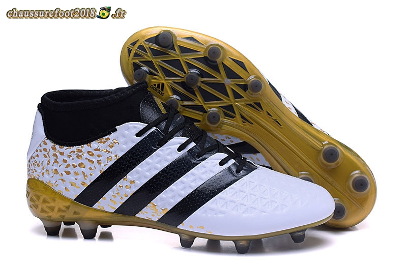 Offres Chaussure Adidas Ace 16+ AG Noir Blanc Or Pas Cher
