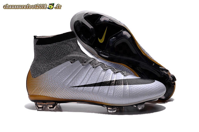 Personnaliser Chaussure Nike Mercurial Superfly CR7 FG Argent Noir Or Chaussure de Foot Salle