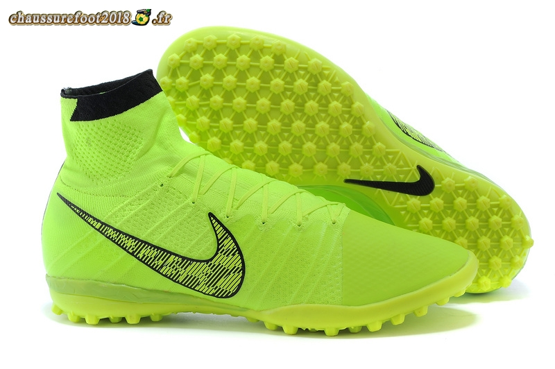 Remise Chaussure Nike Elastico Superfly TF Vert Fluorescent - Meilleur Chaussures de Foot