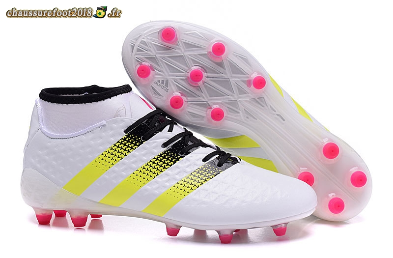 Site Crampons Foot - Chaussure Adidas Ace 16+ AG Blanc Rouge Chaussure de Foot Salle