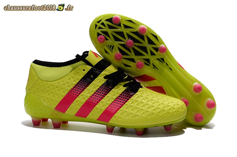 Site Crampons Foot - Chaussure Adidas Ace 16+ AG Jaune Rouge - Chaussures de Foot