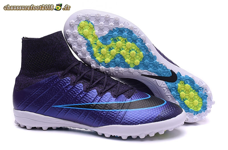 Site Crampons Foot - Chaussure Nike MercurialX Proximo TF Pourpre Bleu Blanc - Meilleur Chaussures de Foot