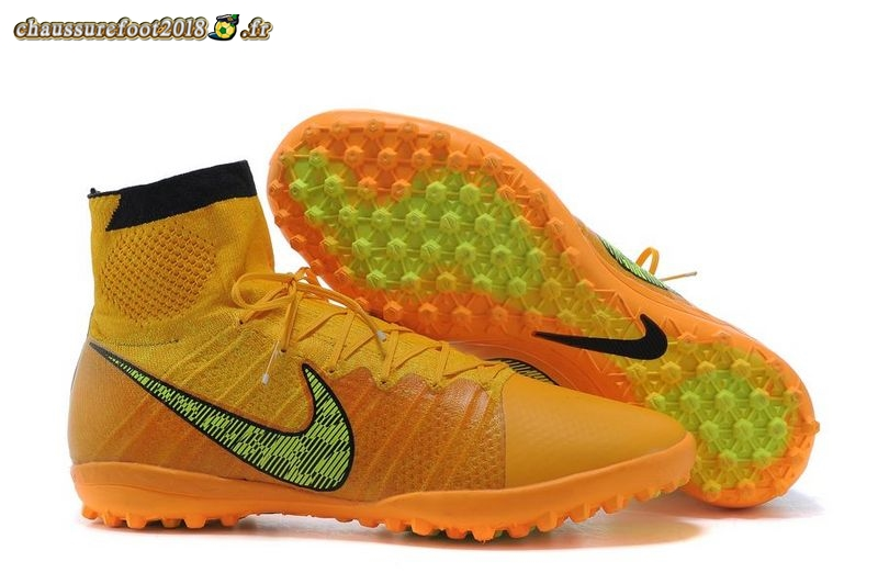 Soldes Chaussure Nike Elastico Superfly TF Noir Jaune Pas Cher