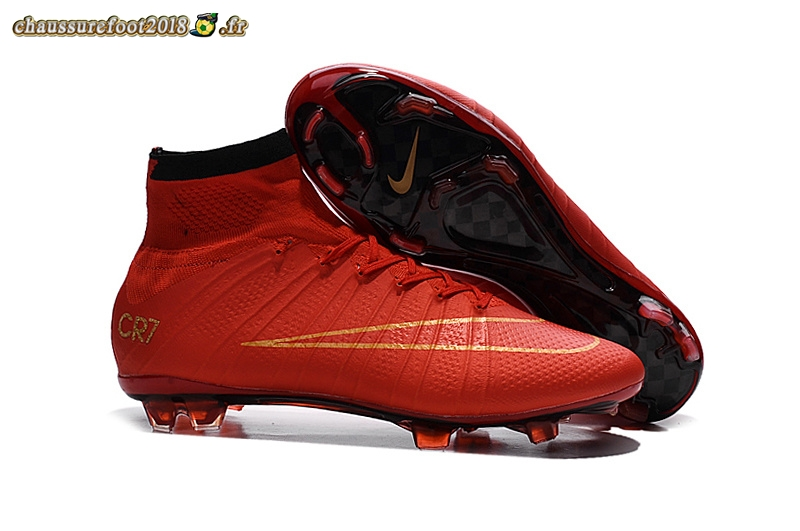 Soldes Chaussure Nike Mercurial Superfly CR7 FG Cramoisi - Chaussures de Foot