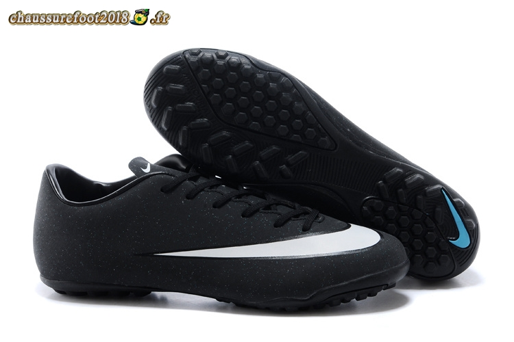 Soldes Chaussure Nike Mercurial Veloce CR7 TF Noir Blanc Chaussure de Foot Salle