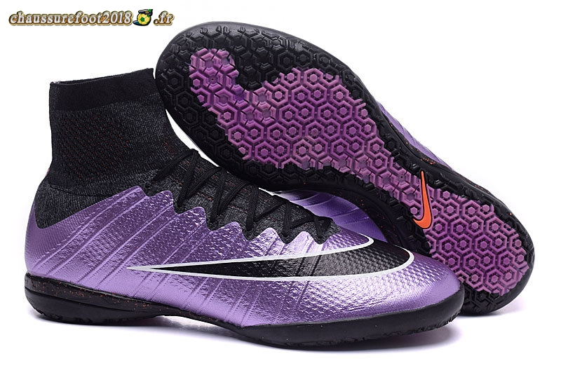 Soldes Chaussure Nike MercurialX Proximo INIC Noir Pourpre Pas Cher