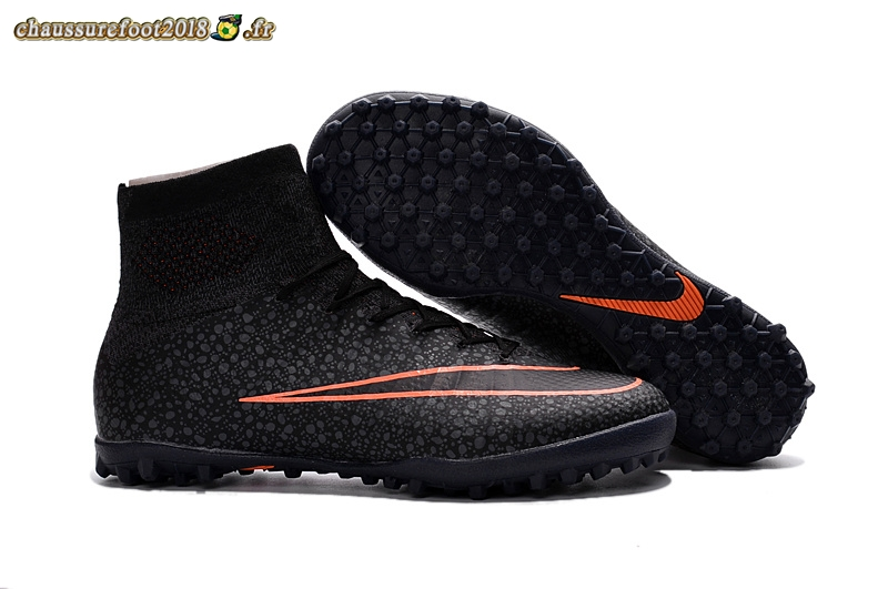 Soldes Chaussure Nike MercurialX Proximo TF Noir Orange Chaussure de Foot Salle
