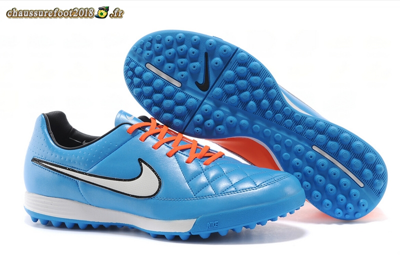 Soldes Chaussure Nike Tiempo Mystic V TF Bleu Rouge - Chaussures de Foot