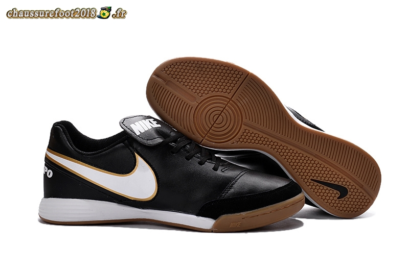 Vente Chaussure Nike Tiempo Mystic V INIC Noir Or Blanc - Chaussures de Foot